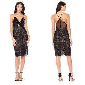 🍋 euc | bcbg | Elvita sequin trimmed lace dress